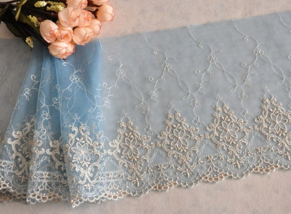 2 Yards Beige Embroidery Lace Trims Light Skyblue Tulle Lace 7.5 Inches Wide