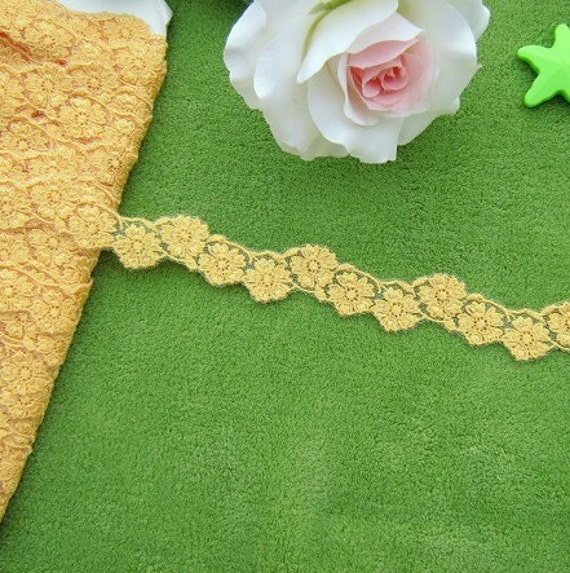 3.5 Yards Gold Embroidery Lace Trims Floral Lace 4/5 Inches Wide