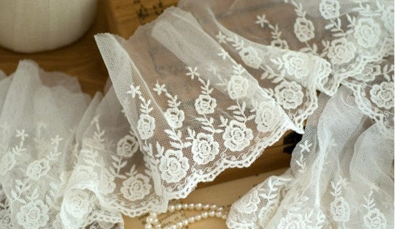 Cotton Floral Embroidery Tulle Lace Trim 5.5 Inches Wide 2 Yards