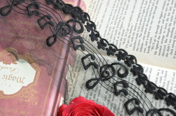 Black Music Note Lace Trims 3.9 Inches Wide 2 yards