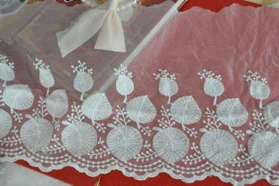Off White Leaves Cotton Embroidery Tulle Gauze Lace Trims Floral Lace 7.8 Inches Wide 2 yards