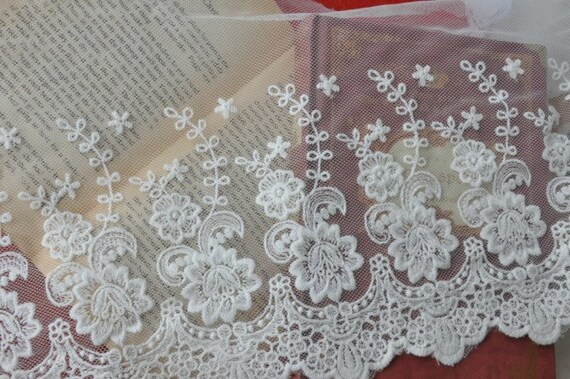 Off White Floral Cotton Embroidery Tulle Gauze Lace Trims 8.66 Inches Wide 1 yard