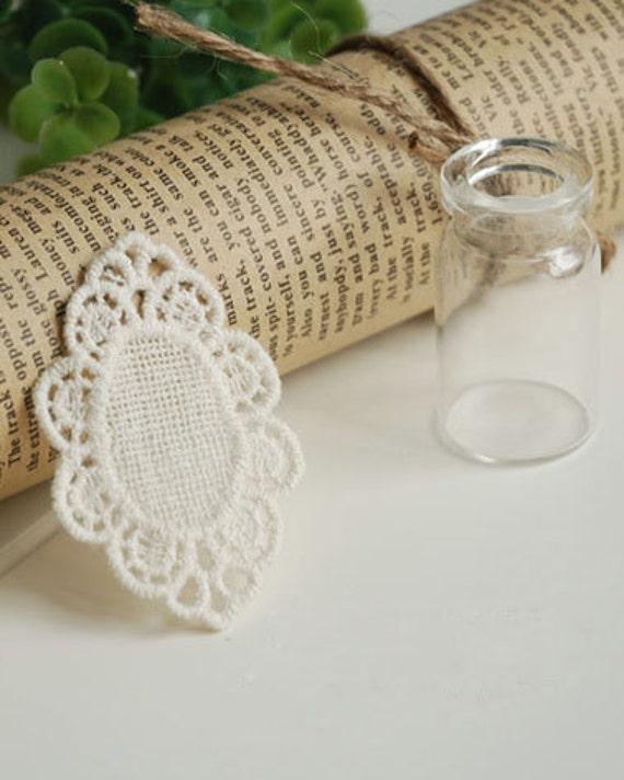 Beige Cotton Embroidery Vintage Oval Lace Appliques 4pcs