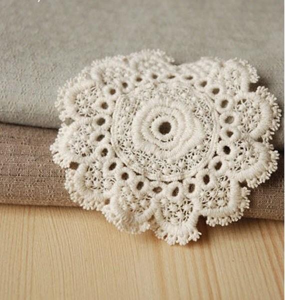Lace Appliques Cotton Beige Embroidery Flower 2pcs