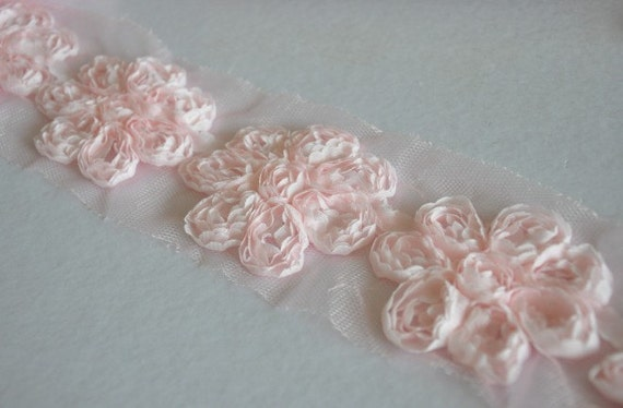 Pink Chiffon 3D Flower Lace Trim Soft Lace 2.56 Inches Wide 0.84 Yards