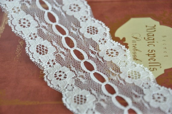 White Lace Trims Bilateral Floral Hollowed Lace 2.36 Inches Wide 4 yards