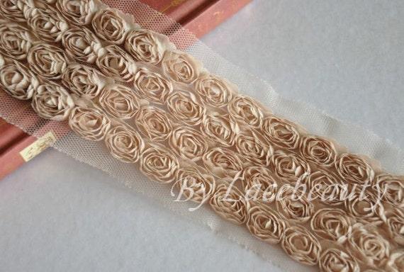 4 Row Khaki Chiffon 3D Roses Lace Trim 2.75 Inches Wide 1 Yard
