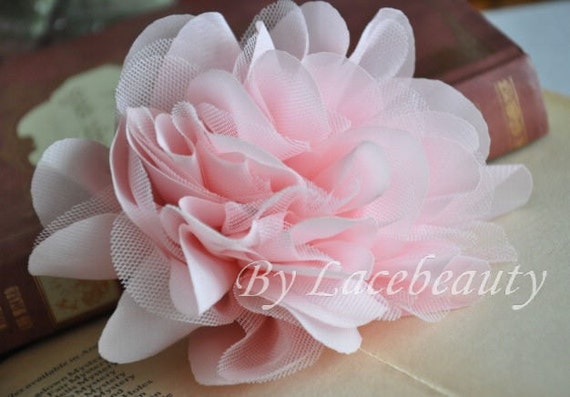 Pink Chiffon Tulle Flower With Pin For Headwear Decor Fashion Costume 1 pcs