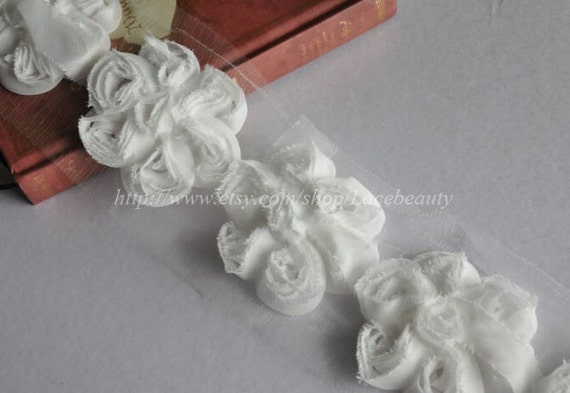 White Chiffon 3D Flower Lace Trim Soft Lace 2.75 Inches Wide 1 Yard