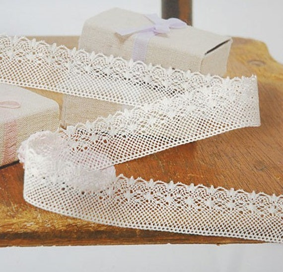 White Cotton Lace Trims 0.82 Inches Wide 1.6 Yards