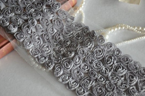 6 Row Grey Chiffon 3D Roses Lace Trim 4.3 Inches Wide 1 Yard
