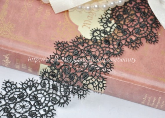 Black Venice Lace Trim Beautiful Jewel  Flower Lace 2.36 Inches Wide 2 yards