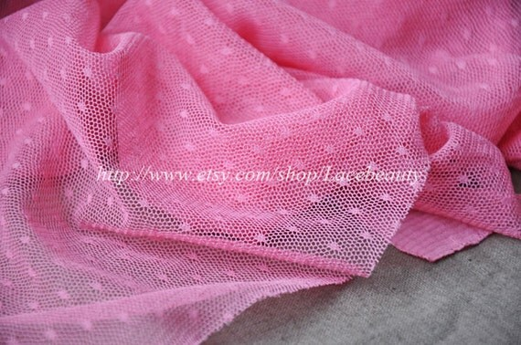 Bright Pink Lace Fabric Little Dots Veil Lace Tulle Gauze 61 Inches Wide 1 Yard For Dress Veil CostumeHeadwear Supplies