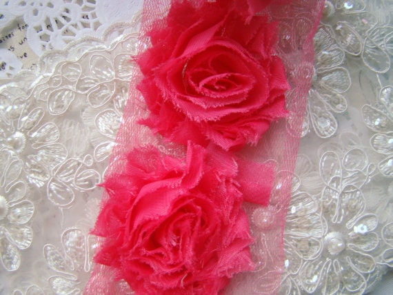 Hot Pink Shabby Rosette Flowers Trim 2.36 Inches Wide 1 Yard