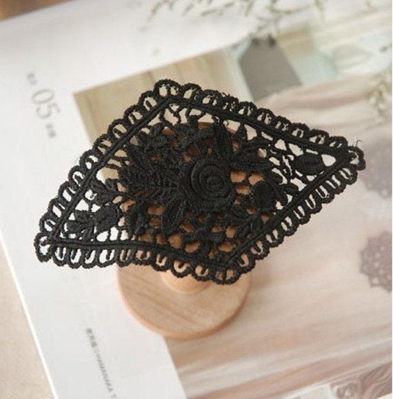 Lace Applique Rhombic Black Roses Floral Embroidery Paches 2pcs