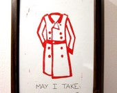 Framed Linocut Print - May I Take Your Coat - Comes with hook