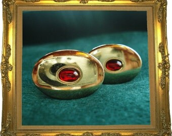 SALE .... Vintage Haband Cuff Links Red Stone Anniversary special edition