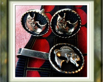 Fish Tie Clasp and Cuff Link Set