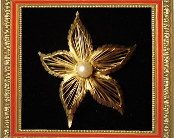 SALE ....Gorgeous Gold filled Dainty Star Brooch with Cultured Pearl