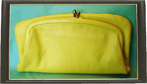 Vintage Signed St Thomas Yellow Leather clutch Bag