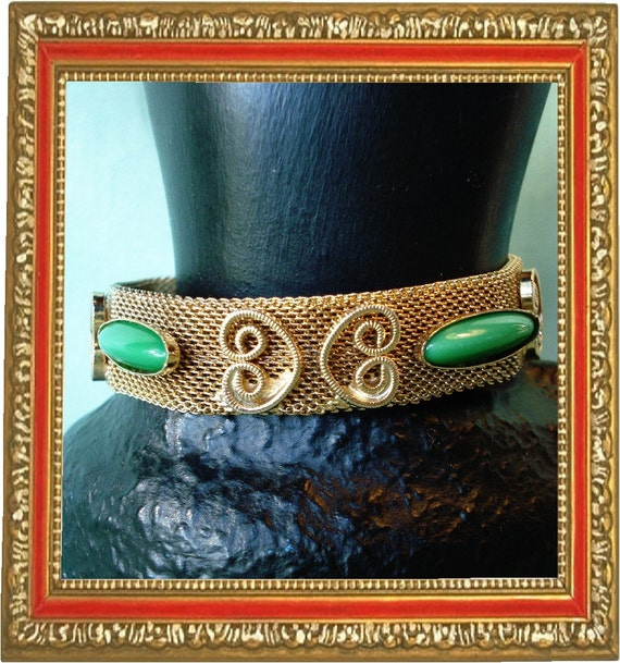 Reduced ... Goldtone Mesh Buckle Bracelet with Green Stones AWESOME