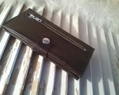 Leather Wallet -  Charcoal Wallet with Snap
