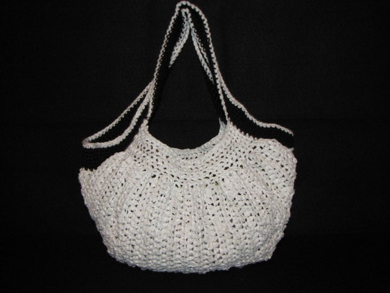 Plastic Grocery Bags transform into Upcycled Pleated Hobo bag, white with black straps
