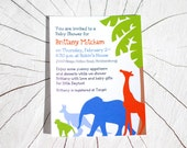 Jungle Animal - Baby Shower or Birthday Party Invitations