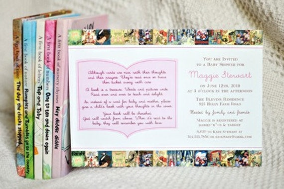 Items similar to Vintage Books Baby Shower Invitations Bring A