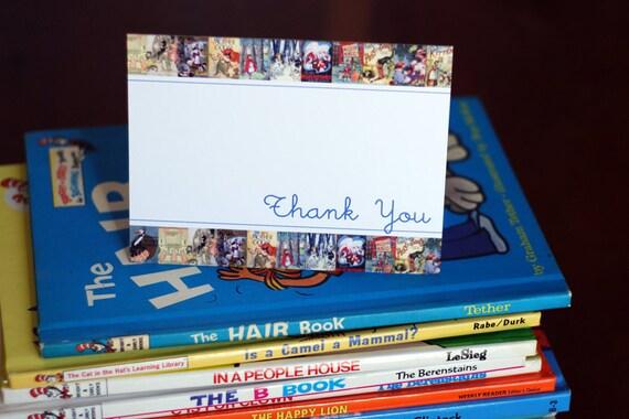 RESERVED for Karen Riley - CUSTOM ORDER - Blue Vintage Book Thank You Cards - Set of 40 - Blank Inside