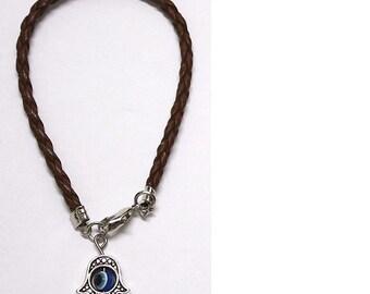 Braided Brown String Charm Bracelet with Revolving LUCKY EYE Hamsa Pendant