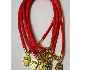 5 Red String Kabbalah Bracelet with Hamsa  Israel Amulet Pendants