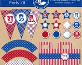 Printable USA Party Kit - 4th of July - 9 banners - 12 cupcake toppers - 3 cupcake wrappers - 1 favors bag and 1 font - 300 DPI