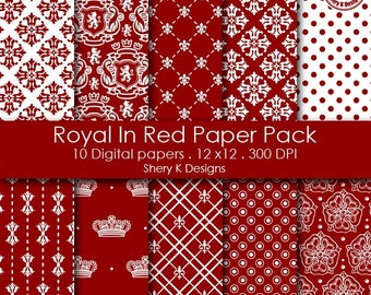 Royal In Red Paper Pack - 10 Printable Digital Scrapbooking papers - 12 x12 - 300 DPI