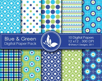 Blue & Green Paper Pack - 10 Digital papers - 12 x12 - 300 DPI