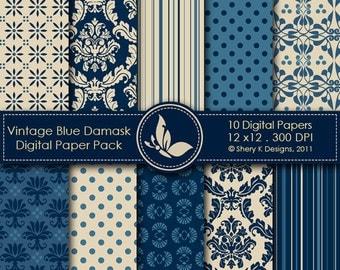 Vintage Blue Damask Paper Pack - 10 Digital papers - 12 x12 - 300 DPI