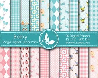 Baby Mega Paper Pack - 20 Printable Digital paper - 12 x12 - 300 DPI