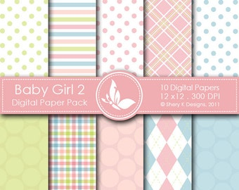 Baby Girl 2 Paper Pack - 10 Printable  Digital paper - 12 x12 - 300 DPI //////2