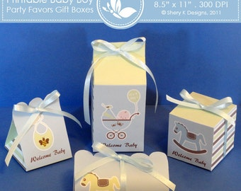 Printable Baby Boy Shower Party favors gift box ////// 002
