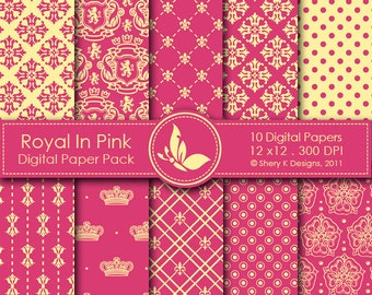 Royal In Pink Paper Pack - 10 Digital papers - 12 x12 - 300 DPI