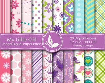 My Little Girl Paper Pack - 20 Printable Digital Scrapbooking papers - 12 x12 - 300 DPI