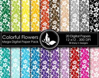 Colorful Flowers Mega Paper Pack - 20 Printable Digital papers - 12 x12 - 300 DPI