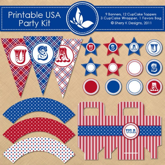May The Fourth Be With You Party Supplies: Items Similar To Printable USA Party Kit