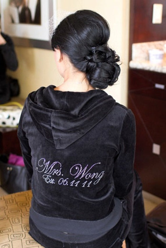 Mrs. Custom Crystal Wedding Velour Hoodie Set