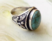 Turquoise sterling silver Turkish men's ring.RESERVED for raymar