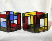 Stained Glass Candle Holder - Mondrian Inspired