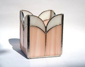 SALE - Stained Glass Candle Holder - Coral and White Glass