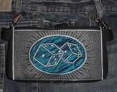 "HandsFree Bag Hip Pouch Embroidered  Belt Bag ""Lucky 7"" Dice Concert Gear Bikers Hikers Tourist Rider Casino Gear"