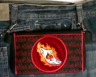 """HandsFree Bag Hip Pouch Embroidered  Belt Bag """"Burnin Ace"""" Ace of Spades Fire Bikers Hikers Tourist Rider Sturgis Motorcycle Bike Rally"""