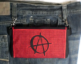 "HandsFree Bag Hip Pouch Embroidered  Belt Bag ""Anarchy"" Nonconformist  Anarchist Bikers Hikers Tourist Rider Sturgis Motorcycle Bike Rally"